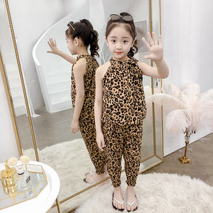 Girls Leopard Sleeveless Outfit Set  8-15 Years