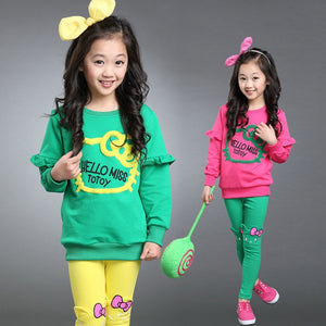 2pc Girls Clothing Sets Embroidery Cartoon Letters Stretch Long Sleeve