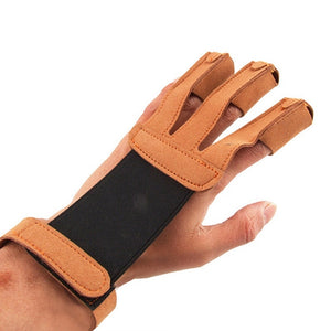 Archery Protect Glove 3 Fingers Pull Bow Leather