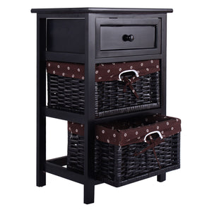 Black Night Stand 3 Tiers End Table w/2 Baskets