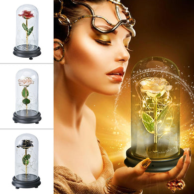 24K Gold Rose Flower LED Light Artificial Flowers Glass Dome