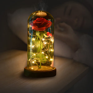 Artificial Rose w/LED Light Wooden Base