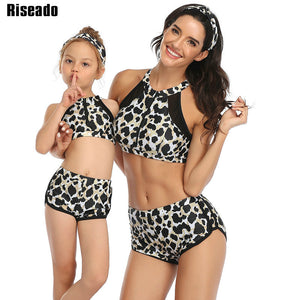 Mother/Daughter Sexy Bikinis Leopard & Solid Swimwear