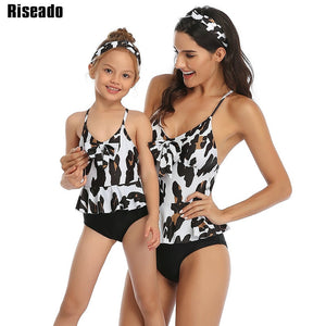 Leopard Mother/Daughter Tankini High Waist Bathing Suit Ruffled