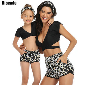 Leopard Mother/Daughter Swimsuits Short Sleeve Bikinis