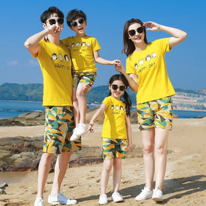 Family Matching Clothes Yellow T-shirt+Camouflage Shorts 2pc