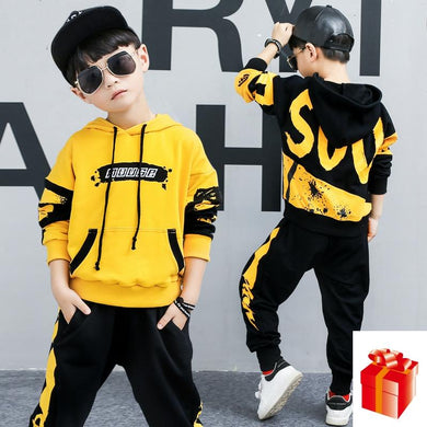 Boys fashion suit sports hooded set