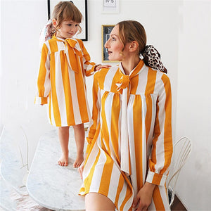 Mother/Daughter Outfits Yellow White Striped Shirt Dress