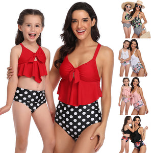 Mother/Daughter Swimsuits Floral Bikini Set
