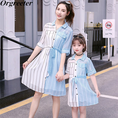 Mother/Daughter Patchwork Striped Chiffon Dress