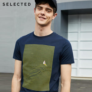 Men's 100% Cotton Striped Embroidery T-shirt