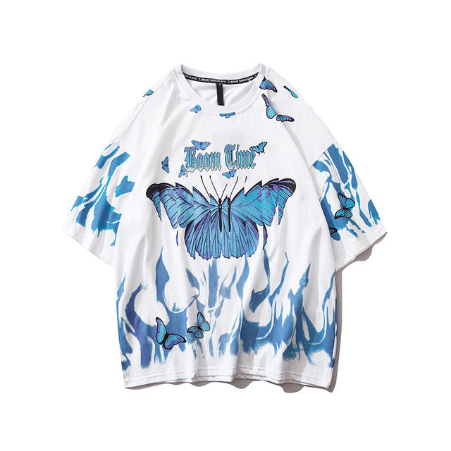 Dark Icon Flame Butterfly Street Fashon T-shirt