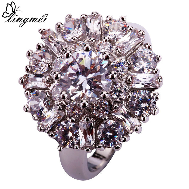 Charming Flower Round Cut Clear/White CZ AAA Silver Ring