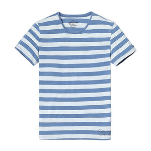 SIMWOOD New Men's T shirt Fashion O-neck Short-sleeved Slim Fit Blue Striped T-SHIRT