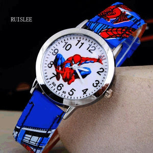 Ruislee Hot Sale SpiderMan Watch Cute Cartoon Watch Kids Watches Rubber Quartz Watch