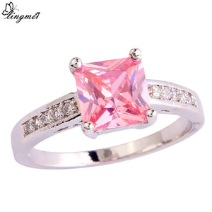 Princess Cut Pink/White CZ Silver Color