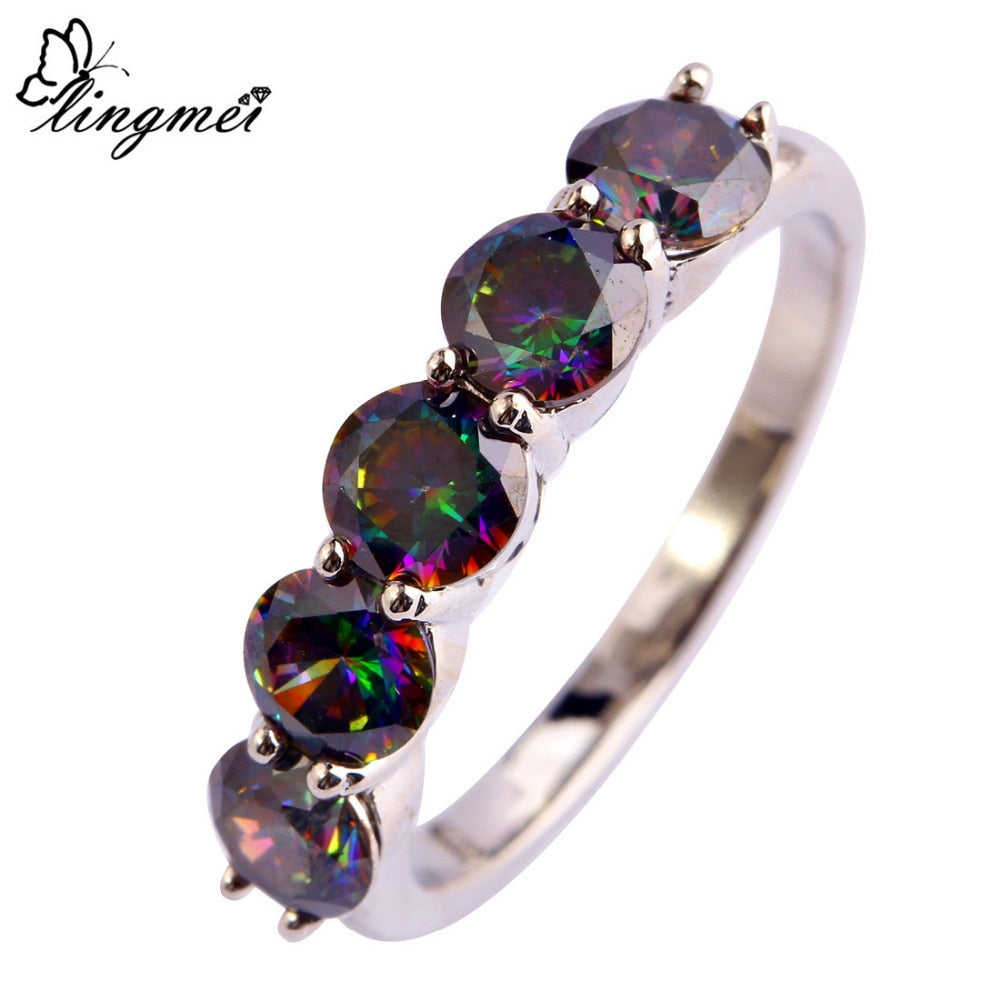 Round Rainbow CZ Silver Color Ring