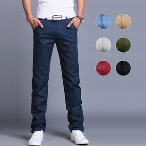 Fashion Men Business Casual Pants Cotton Slim Straight Trousers Spring Summer Long Pant
