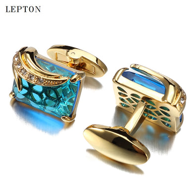 Low-key Luxury Blue Glass Cufflinks for Mens Lepton Brand High Quality Square Crystal Cufflinks Shirt Cuff Links Relojes Gemelos