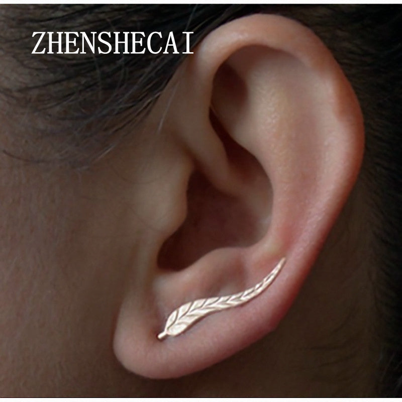 2 Pairs Gold Color Leaf Feather Stud Earrings