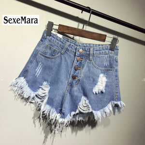 Denim Women shorts high waist fur-lined leg-openings, plus size