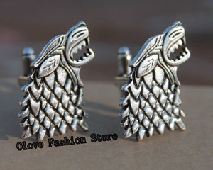Game of Thrones Direwolf Cufflinks,Luxury Cuff Links for Men's Shirts for Wedding/Party,Stark House/Jon Snow Cosplay Jewelry