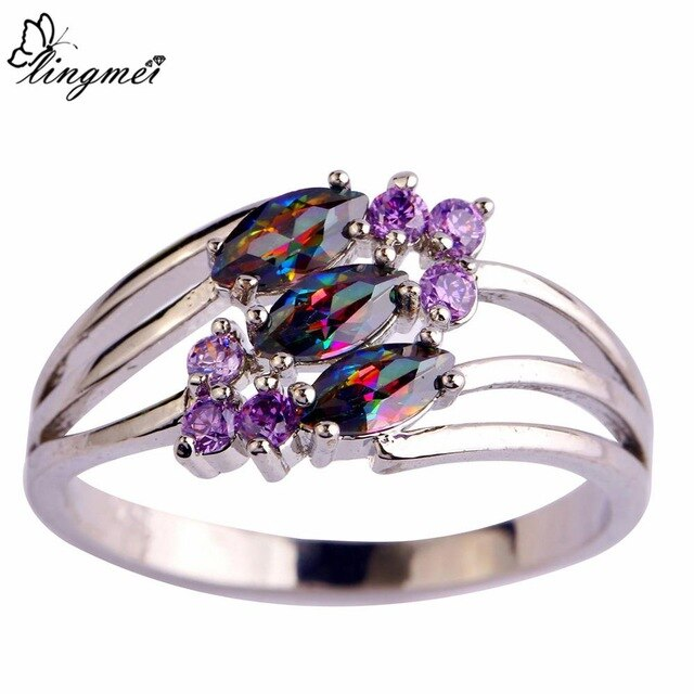 Mysterious Multi-Color & Purple CZ Silver Color Ring