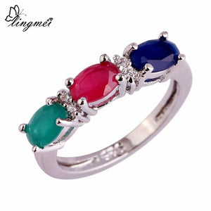 Multi-Color Cubic Zirconia Silver Color Ring