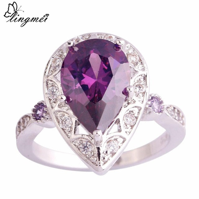 Purple/White CZ Silver Color Ring
