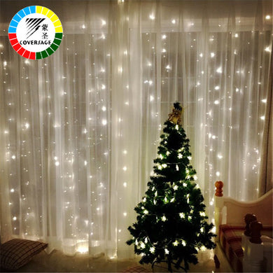 Coversage 3X3M Christmas Garlands LED String Christmas Net Lights Fairy Xmas Party Garden Wedding Decoration Curtain Lights