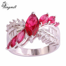 Pink Tourmaline White CZ Silver Color Ring