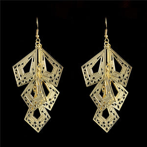 Gold Color Square Pendant shape dangle earrings