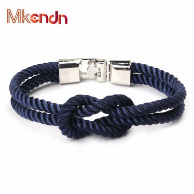 MKENDN New Fashion Infinity Bracelets Men Charm Survival Rope Chain Paracord Bracelet Male Wrap Metal Sport Hooks