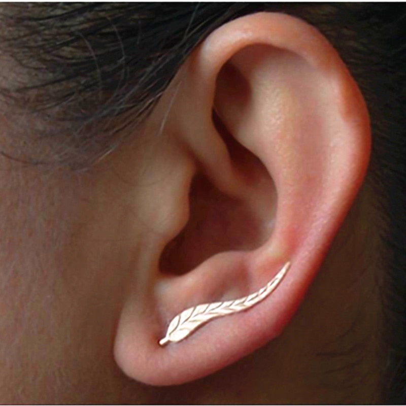 New Fashion Jewelry Leaf Stud Earrings For Women Hot Sale 1 Pair Ear Cuff Gold-color Earrings