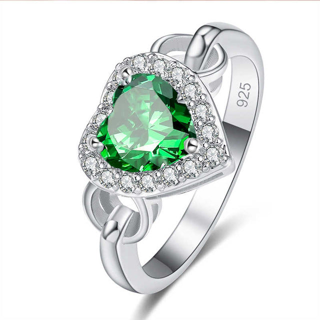 Heart Cut Blue/Green/White CZ Silver Color Ring