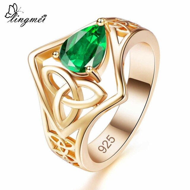 Water Drop Mysterious/Green/White CZ Gold Color Ring