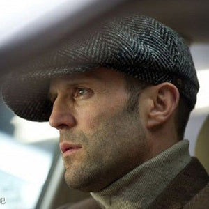 Herringbone Tweed Newsboy Cap for Men Wool