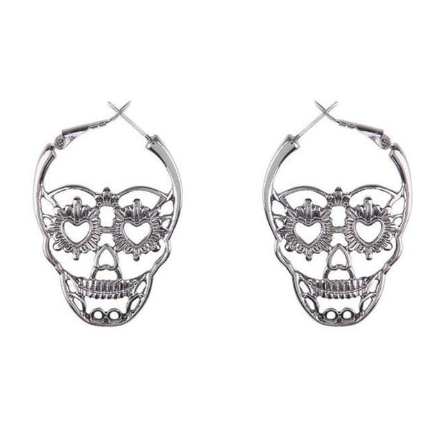 Vintage Antique Silver Color Love Heart Eyes Skull Hoop Earrings for Women Punk Party Skeleton Jewelry pendientes mujer moda