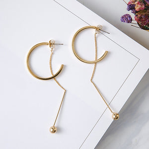 New Vintage Exaggerate Big Circle Dangle Earrings Matte Gold Drop Earrings For Women