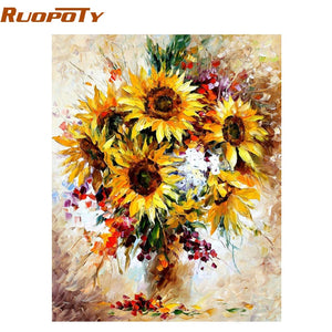 RUOPOTY Frame Yellow Sunflower Diy Digital Painting By Number Acrylic Picture Modern Wall Art Hand Painted Oil Painting For Home