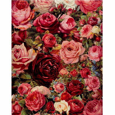 Frameless Frame Rose Flowers DIY Painting By Numbers Mordern Wall Art Hand Painted Oil Painting For Home Decor Artwork 40x50cm
