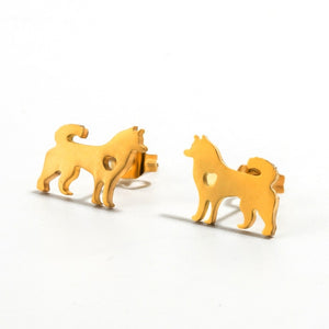 Golden and Silver Stainless Steel Animal Cute Stud Earrings