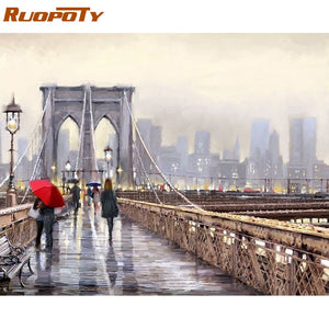 RUOPOTY Frame Bridge City DIY Painting By Numbers Modern Wall Art Calligraphy Painting Acrylic Coloring By Number For Home Decor