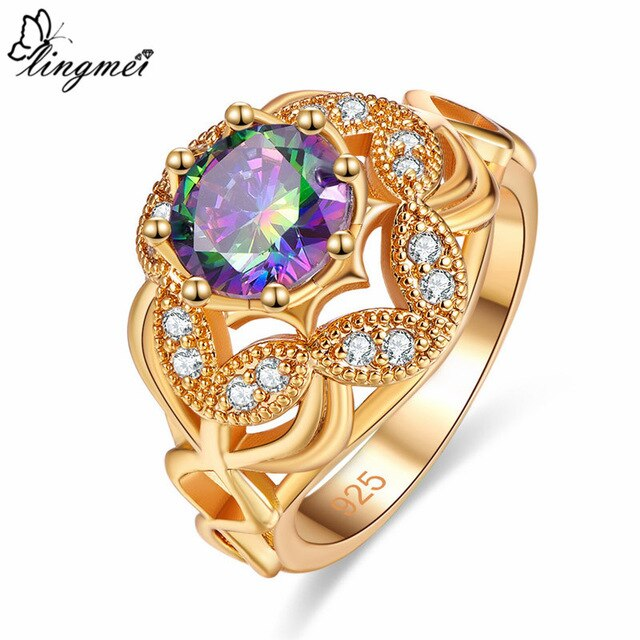 Round Multi-color/Pink/White CZ Gold Color Ring