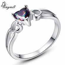 Dazzling Heart Cut Gold/Rainbow/White/Pink CZ Gold Color Ring