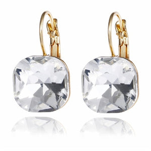 Fashion Simple Austrian Crystal Dangle Earrings For Women Gold Color Square Shaped Shinning Drop Earrings