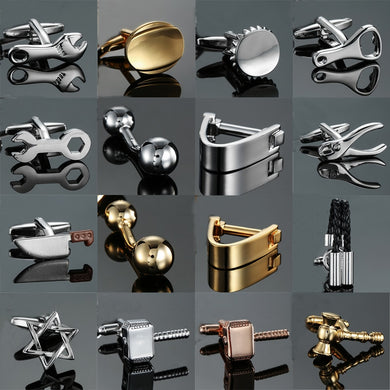 18 styles Designed Cuff-links Stainless Steel for Men