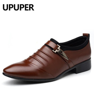 Big Size 38-48 Mens Dress Shoes PU Leather Pointed Toe Oxfords