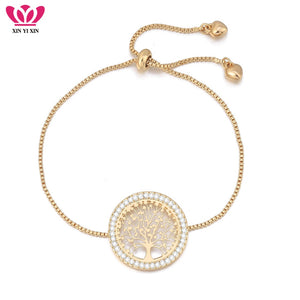 2018 New pulseira mujer moda Clear Crystal Gold Charm Bracelets Bangles For Women Tree of Life Adjustable Bracelet Jewelry Gift