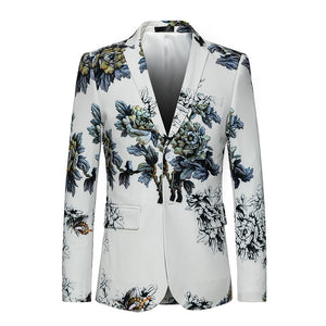 White Dress Blazer Coat 2018 New Single-breasted business Luxury Fashion Print Flowers Men High Quality Suit Jacket Big size 6XL